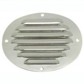 Grille d'aération ovale en inox poli 116x128 mm