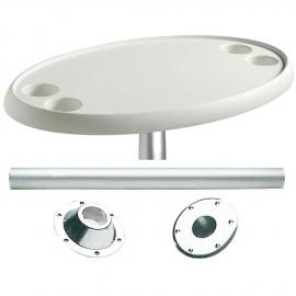 Table ovale avec pied aluminium
