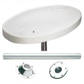 Table en ABS ovale avec pied aluminium