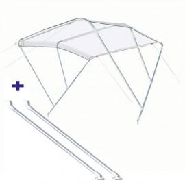 Pack Bimini 3 arc. alu - blanc - 150/170 cm - h 140 cm Ø 20 mm + bras support