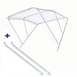 Pack Bimini 3 arc. alu - blanc - 200/220 cm - h 140 cm Ø 20 mm + bras support