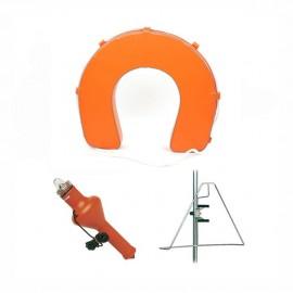 Bouée fer à cheval orange + support inox + feu