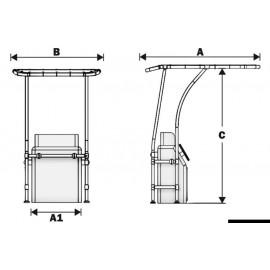 T-Top professionnel tube alu Ø 44 mm - fixation plancher