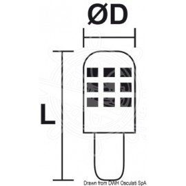 Ampoule LED SMD culot E14 - protection verre - 12 / 24 V - 2.5 W