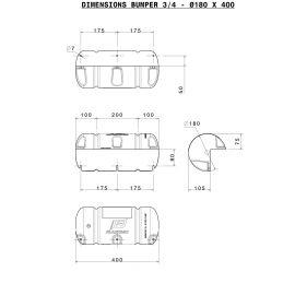Bumper 3/4 standard blanc 18 x 40 cm