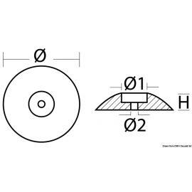 Anode à rose de type lourd à boulonner diam. 50 mm