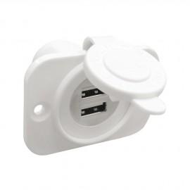 Double prise USB avec panneau - montage avec écrou arrière - blanc