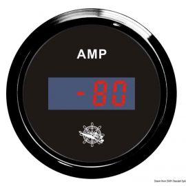 Ampèremètre numérique - cadran noir/blanc - lunette noire/polie - 12/24 v