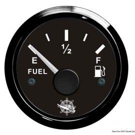 Jauge de carburant cadran noir/blanc -  lunette noire/polie - 12/24V