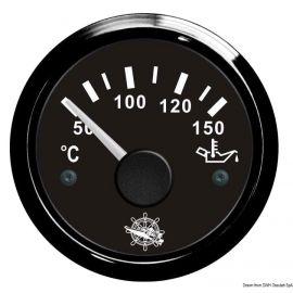 Indicateur de température d'huile - cadran noir - lunette noire - 12/24v