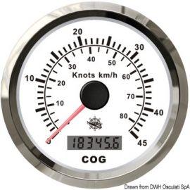 Indicateur de vitesse avec compas GPS noir/blanc - lunette noire/polie