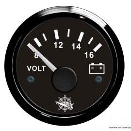 Voltmètre - cadran noir/blanc - lunette noire/polie - 12 ou 24V