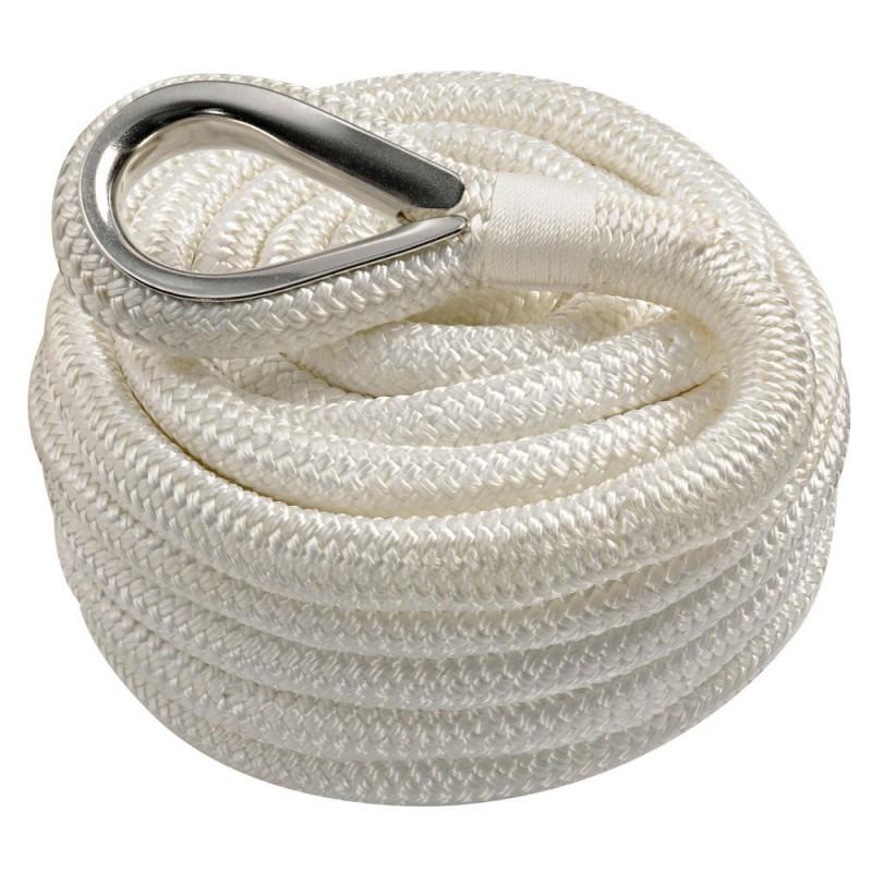 Amarres double tresse en polyester - ø10mm - blanc - longueur 6 M