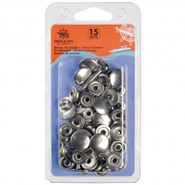Boutons à pression - inox - lot de 15