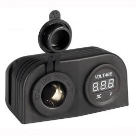 Voltmètre numérique 8/32V + prise de courant -  fixation sur plan