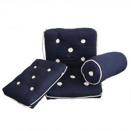 Coussin imperméable en coton bleu traversin Ø190x440 mm