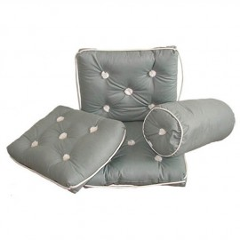 Coussin imperméable en coton gris traversin Ø190x440 mm