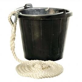 Seau en caoutchouc -  8 litres - avec bout polyester épissure 3 m