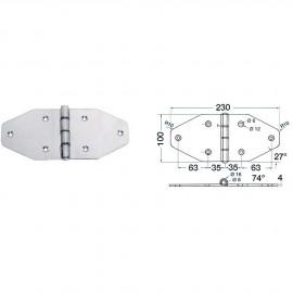 Maxi charnière inox 230x100 mm - 4 mm