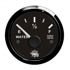 Jauge d'eau - cadran noir - lunette noire 12/24 v