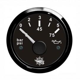 Indicateur de pression d'huile - cadran noir - lunette noire - 12/24v