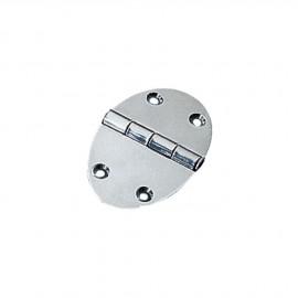 Charnière  ovale inox - 84 x 56  mm - épaisseur 2 mm - fixation avec vis