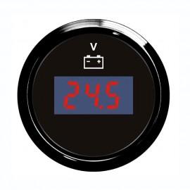 Voltmètre numérique - cadran noir - lunette noire - 12/24 v