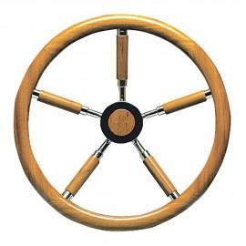 Barre à roue inox et teck - 5 branches en teck - Ø 400 mm
