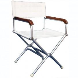 Chaise pliable Director blanche en aluminium