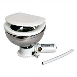 WC électrique - cuvette inox lunette bois laqué blanc 12 V
