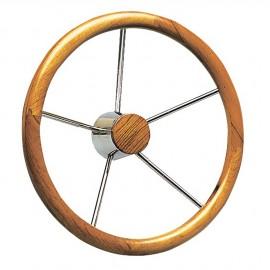 Barre à roue teck - 5 branches inox - Ø 350 mm