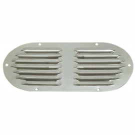 Grille d'aération ovale en inox poli 235x118 mm