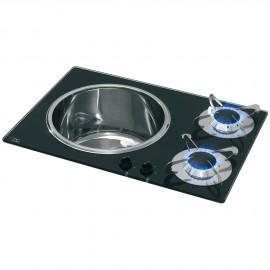 Plan de cuisson cristal et lavabo