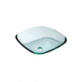 Lavabo semi-carré, verre transparent 420x420 mm