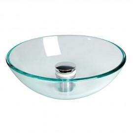Lavabo semi-sphérique, verre transparent, Ø 280 mm