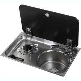 Plan de cuisson+évier couvercle verre trempé - 1 feux - 530x325 mm