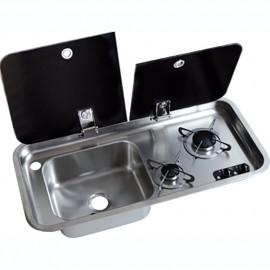 Plan de cuisson+évier D couvercle verre trempé - 2 feux - 716x313 mm