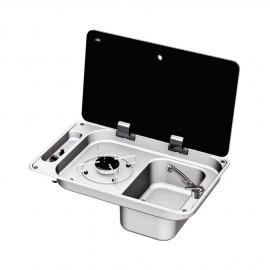 Plan de cuisson+évier D couvercle verre trempé - 1 feux - 530x340 mm