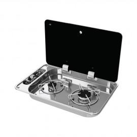 Plan de cuisson 2 feux couvercle en cristal fumé - 530x340 mm