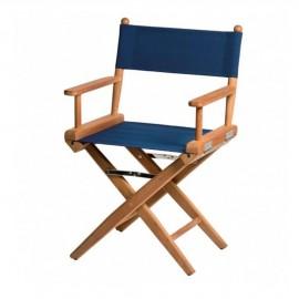 Chaise régisseur teck toile bleue