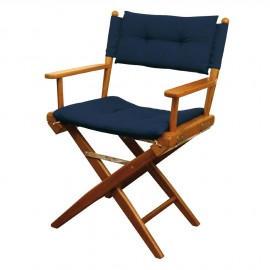 Chaise régisseur teck toile rembourrée bleue