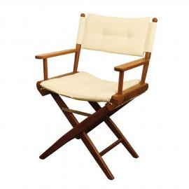 Chaise régisseur teck toile rembourrée sable