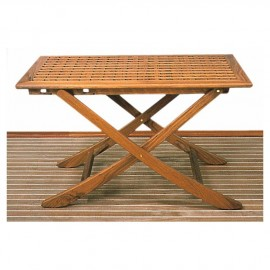 Table teck caillebotis 125 x 80 cm