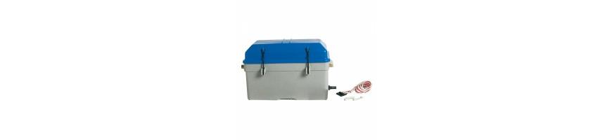 Bac à batterie de toutes dimensions, kit de fixation, sangles.