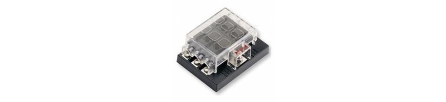 barette de connexion, de jonction, boite porte fusible, bornier, couipe circuits, passe-fil, porte fusible.